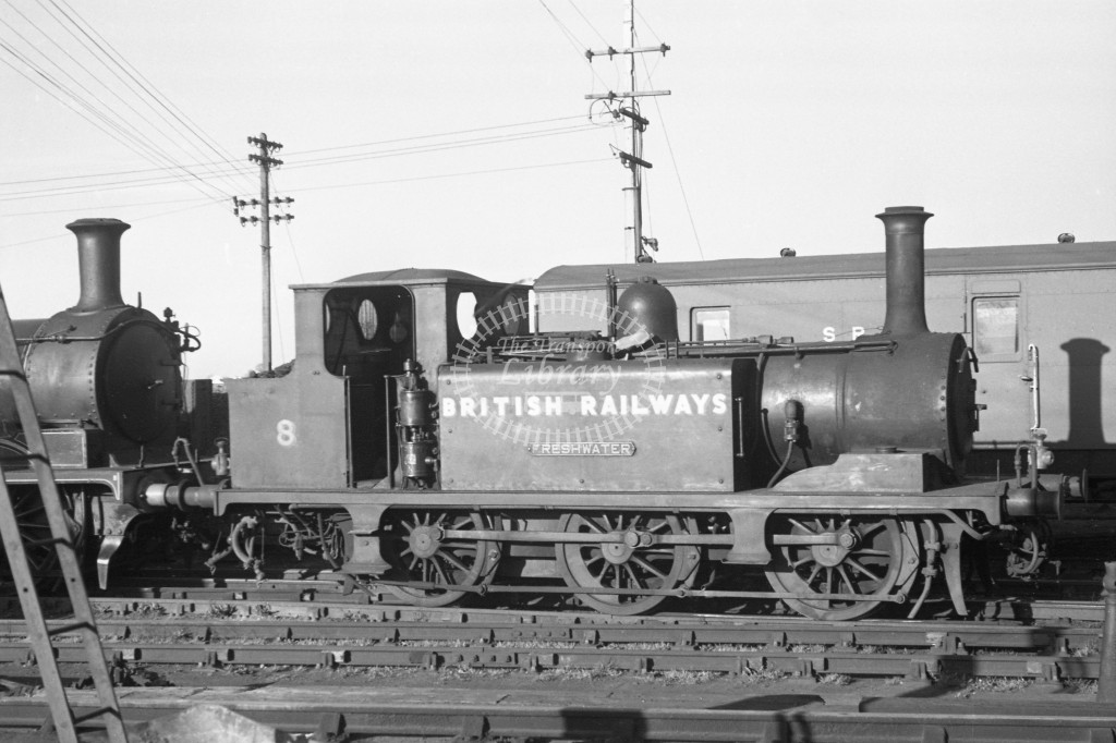 BR W8 Freshwater A1X in black, lettered 'British Railways' R broadside view at Newport MPD 9/4/49.-Lens of Sutton Association Isle of Wight (IOW) PM Alexander collection