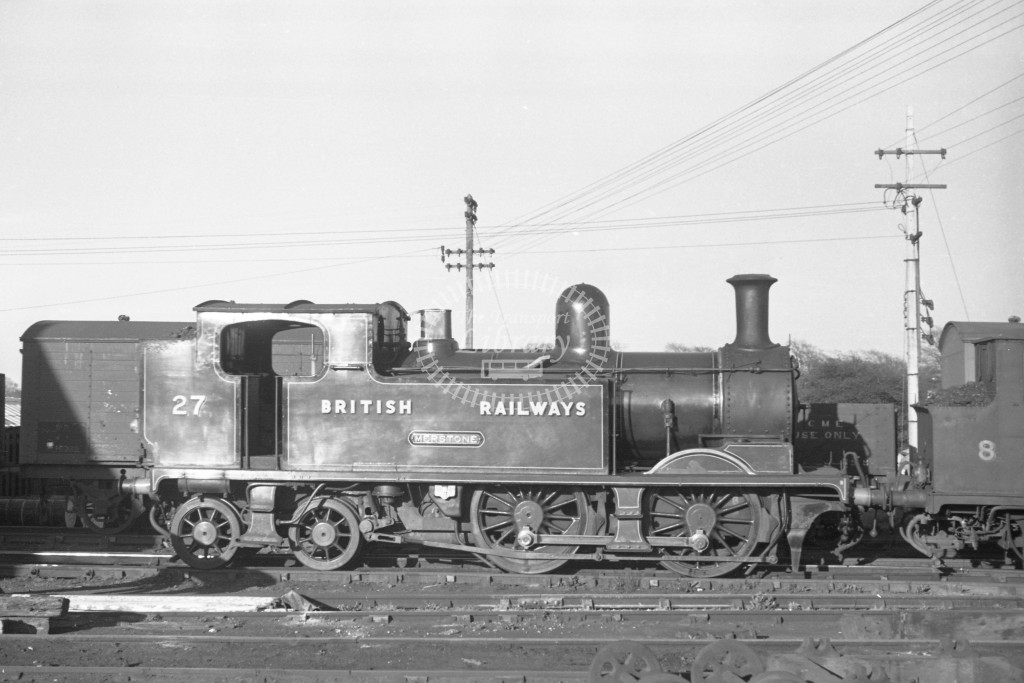 BR W27 Merstone class O2 at Newport MPD 9/4/49; loco in malachite lettered 'British Railways'; R broadside view.-Lens of Sutton Association Isle of Wight (IOW) PM Alexander collection