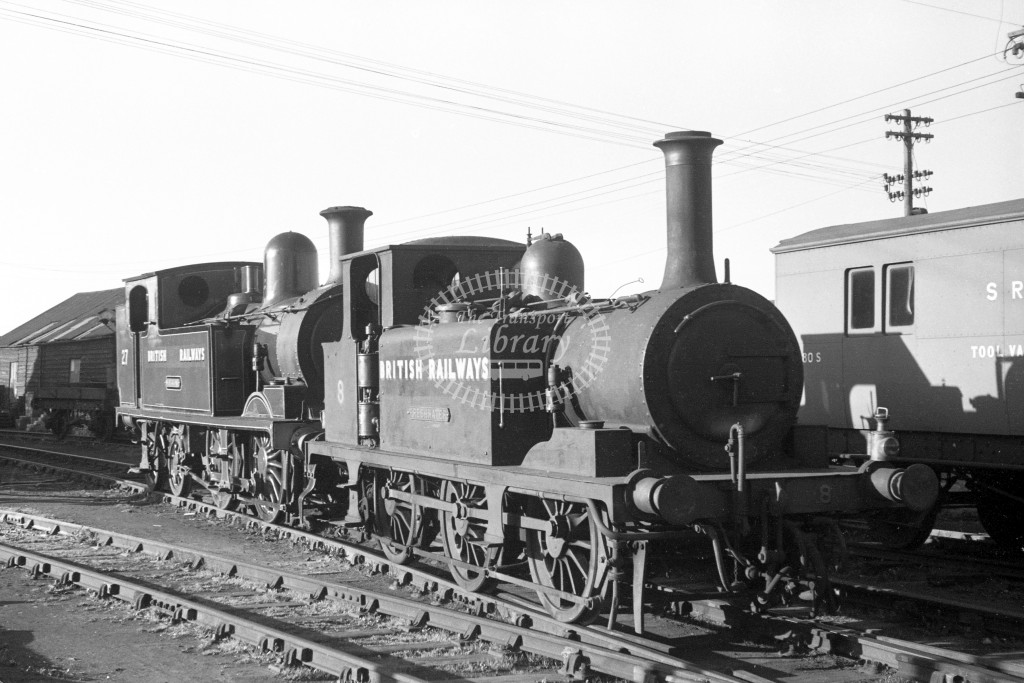 BR W8 Freshwater A1X in black, lettered 'British Railways' R 3/4 front view at Newport MPD 9/4/49 coupled to W27 Merstone class O2 in malachite lettered 'British Railways'; R3/4 front view.-Lens of Sutton Association Isle of Wight (IOW) PM Alexander colle
