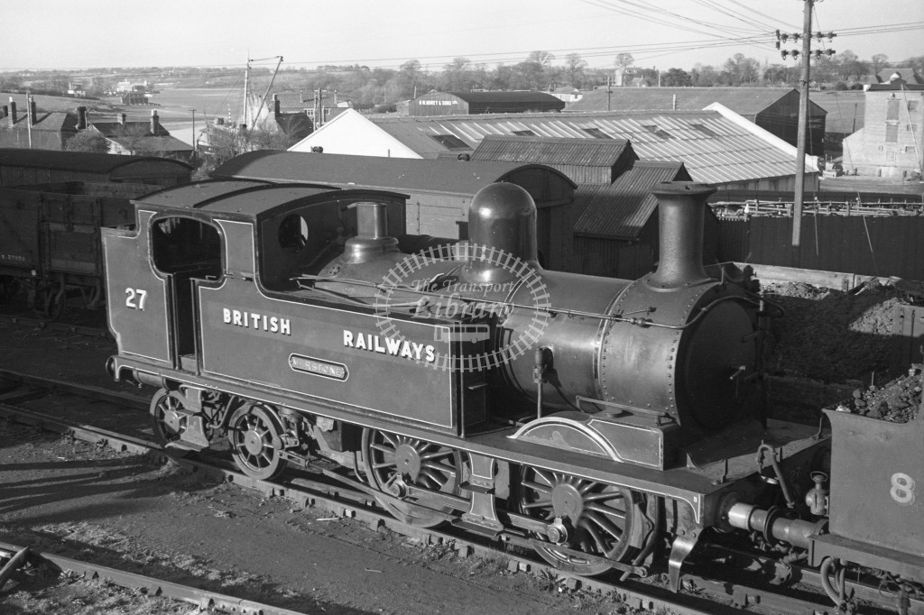 BR W27 Merstone class O2 at Newport MPD 9/4/49; loco in malachite lettered 'British Railways'; R3/4 front view.-Lens of Sutton Association Isle of Wight (IOW) PM Alexander collection