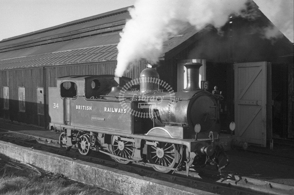 BR W34 Newport class O2 at Newport MPD 9/4/49; loco in malachite lettered 'British Railways'; R3/4 front view.-Lens of Sutton Association Isle of Wight (IOW) PM Alexander collection