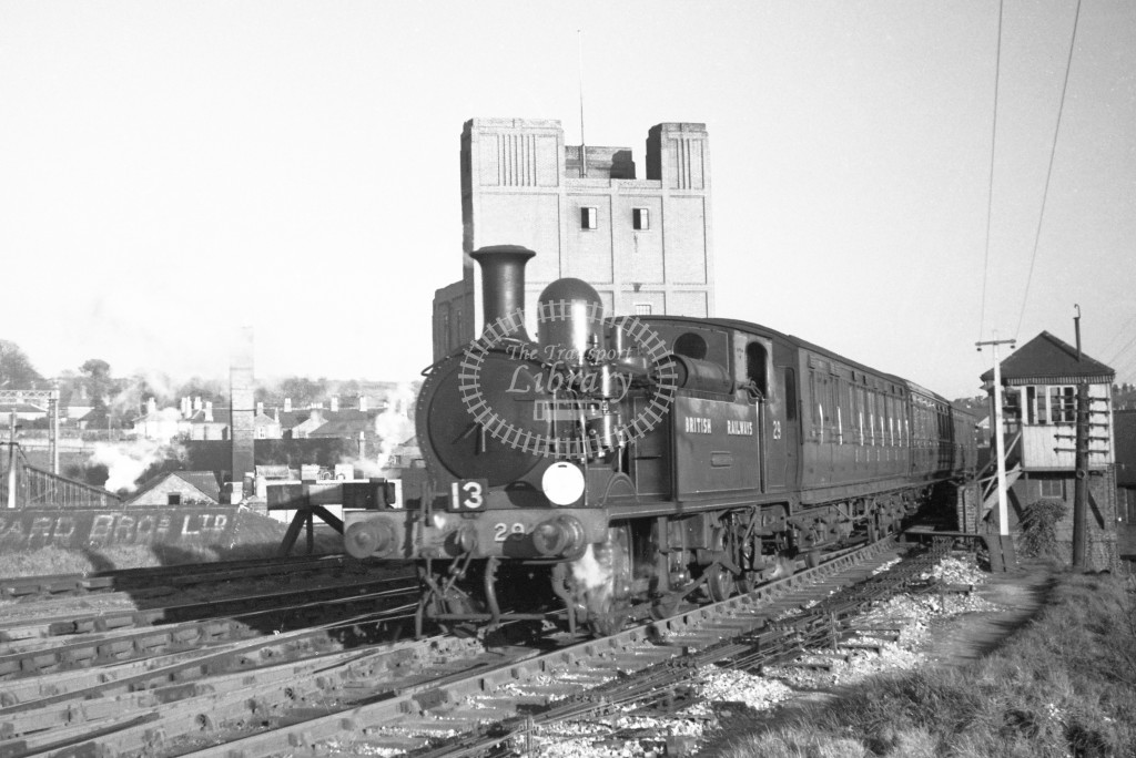BR W29 Alverstone class O2  arriving with passenger service from Ryde at Newport 9/4/49; loco in malachite lettered 'British Railways'; L3/4 front view.-Lens of Sutton Association Isle of Wight (IOW) PM Alexander collection