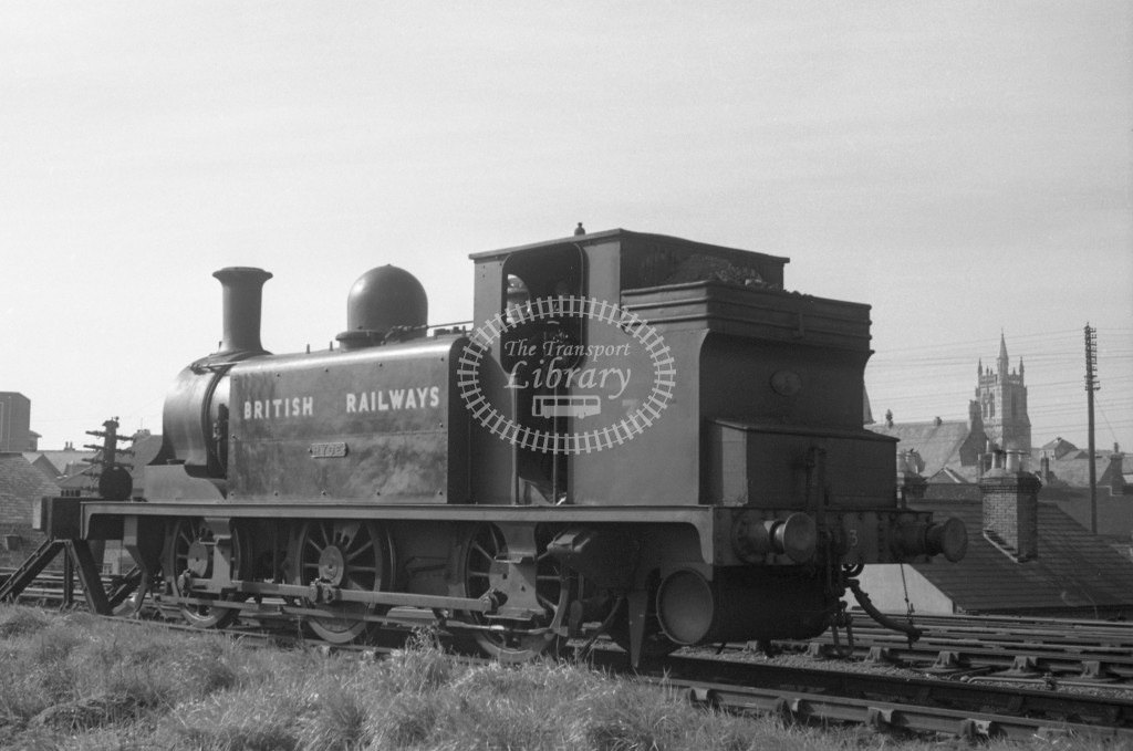 BR W3 Ryde E1 at Newport MPD 10/4/49; loco in Bulleid black lettered 'British Railways'; L3/4 rear view.-Lens of Sutton Association Isle of Wight (IOW) PM Alexander collection