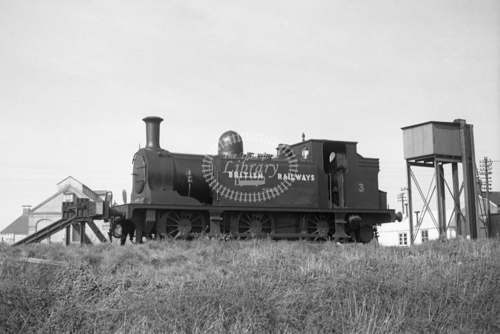 BR W3 Ryde E1 at Newport MPD 10/4/49; loco in Bulleid black lettered 'British Railways'; L3/4 front view.-Lens of Sutton Association Isle of Wight (IOW) PM Alexander collection