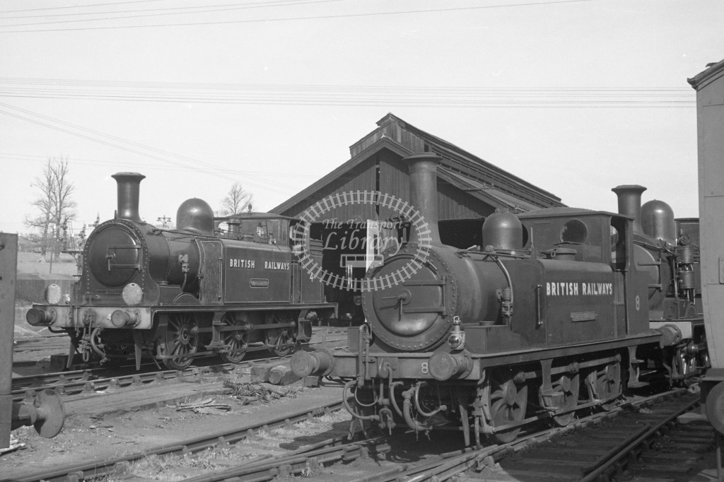 BR W4 Wroxall E1 at Newport MPD 10/4/49; loco in lined malachite lettered 'British Railways'; L3/4 front view with W8 Freshwater ex LBSC A1X in plain black lettered 'British Railways' also L 3/4 front view.-Lens of Sutton Association Isle of Wight (IOW) P