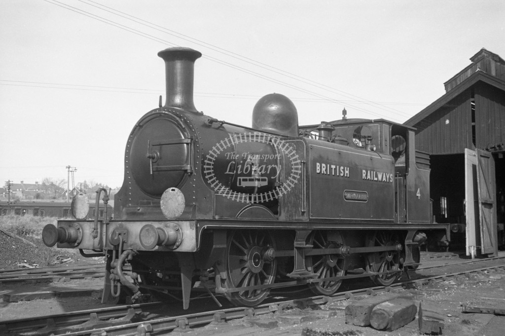 BR W4 Wroxall E1 at Newport MPD 10/4/49; loco in lined malachite lettered 'British Railways'; L3/4 front view-Lens of Sutton Association Isle of Wight (IOW) PM Alexander collection