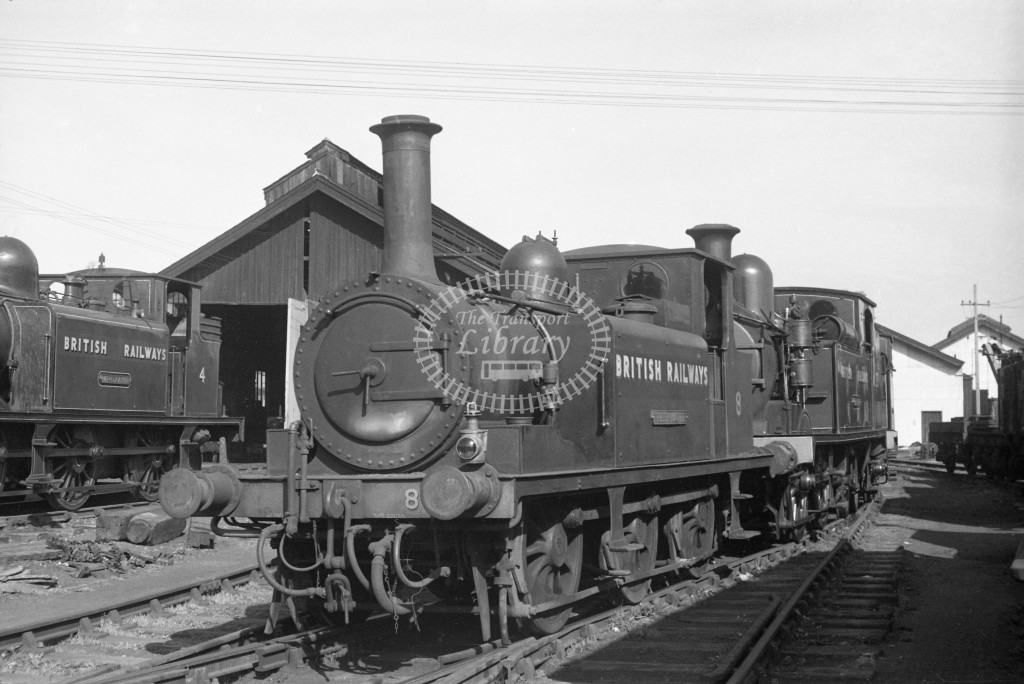 BR W8 Freshwater ex LBSC A1X at Newport MPD 10/4/49; in plain black lettered 'British Railways' L 3/4 front view.-Lens of Sutton Association Isle of Wight (IOW) PM Alexander collection