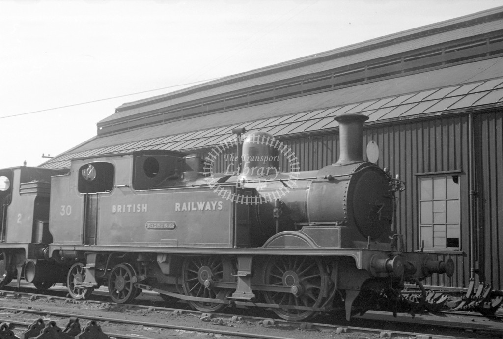 BR W30 Shorwell class O2 at Newport MPD 10/4/49; loco in malachite lettered 'British Railways'; L 3/4 view-Lens of Sutton Association Isle of Wight (IOW) PM Alexander collection