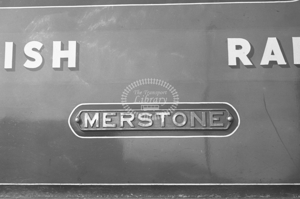 BR W27 Merstone class O2 at Newport MPD 10/4/49; loco in malachite lettered 'British Railways'; detailed view of nameplate-Lens of Sutton Association Isle of Wight (IOW) PM Alexander collection