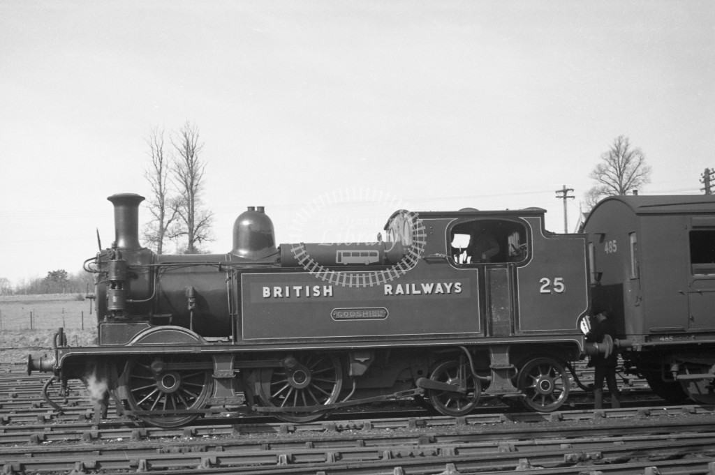 BR W25 Godshill class O2  standing with coach at Newport 10/4/49; loco in malachite lettered 'British Railways'; L broadside view.-Lens of Sutton Association Isle of Wight (IOW) PM Alexander collection