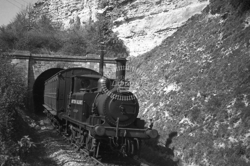 BR W8 Freshwater A1X in black, lettered 'British Railways' exiting St Lawrence tunnel with single coach Merstone to Ventnor West service 16/4/49; R3/4 front view.-Lens of Sutton Association Isle of Wight (IOW) PM Alexander collection