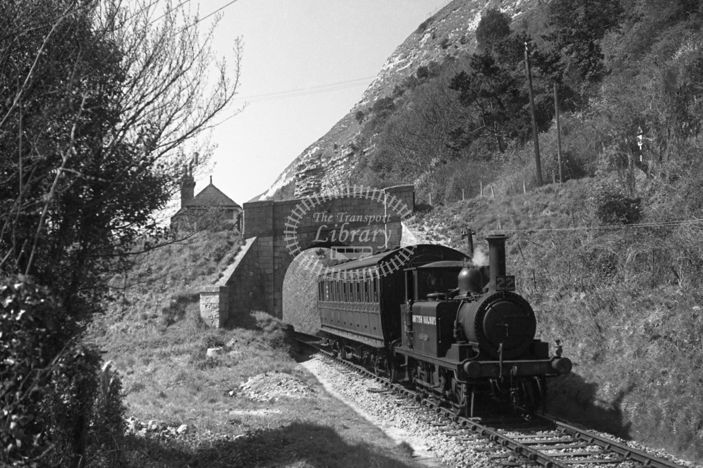 BR W8 Freshwater A1X in black, lettered 'British Railways' leaving St Lawrence with single coach Merstone to Ventnor West service 16/4/49; R3/4 front view.-Lens of Sutton Association Isle of Wight (IOW) PM Alexander collection