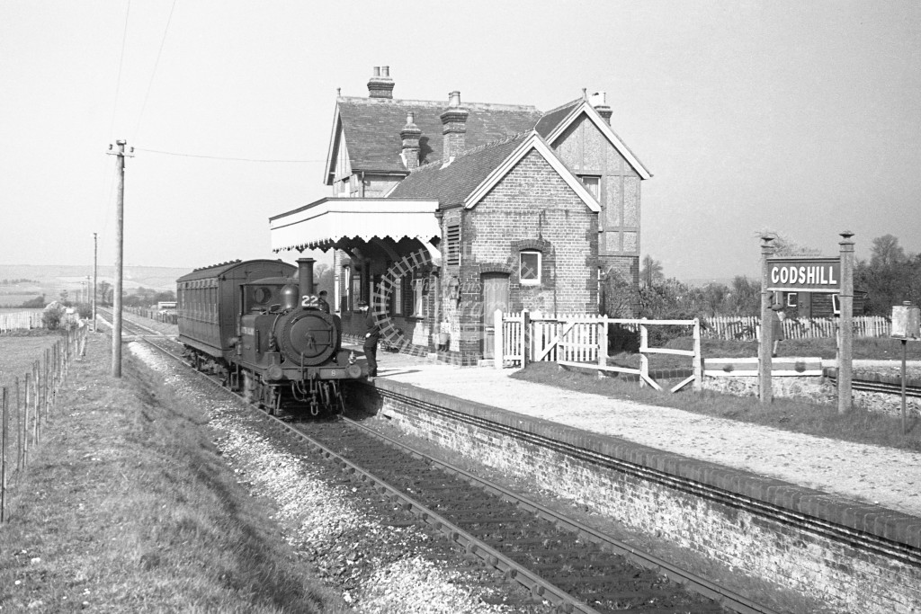 BR W8 Freshwater A1X in black, lettered 'British Railways' standing at Godshill with single coach Ventnor West to Merstone service 16/4/49; R3/4 front view.-Lens of Sutton Association Isle of Wight (IOW) PM Alexander collection