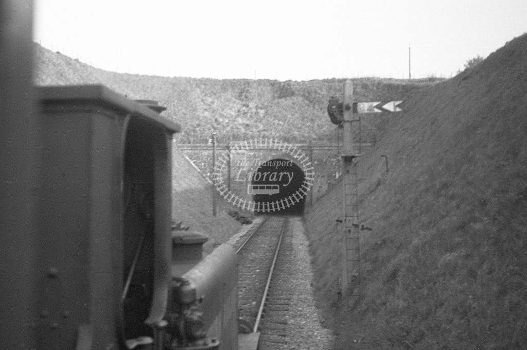 BR View from train window looking past the cab of W8 Freshwater approaching northern portal of St Lawrence tunnel 16/4/49-Lens of Sutton Association Isle of Wight (IOW) PM Alexander collection