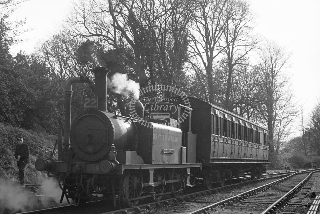 BR W8 Freshwater A1X in black, lettered 'British Railways' being watered at Ventnor West 16/4/49; L3/4 front view. -Lens of Sutton Association Isle of Wight (IOW) PM Alexander collection