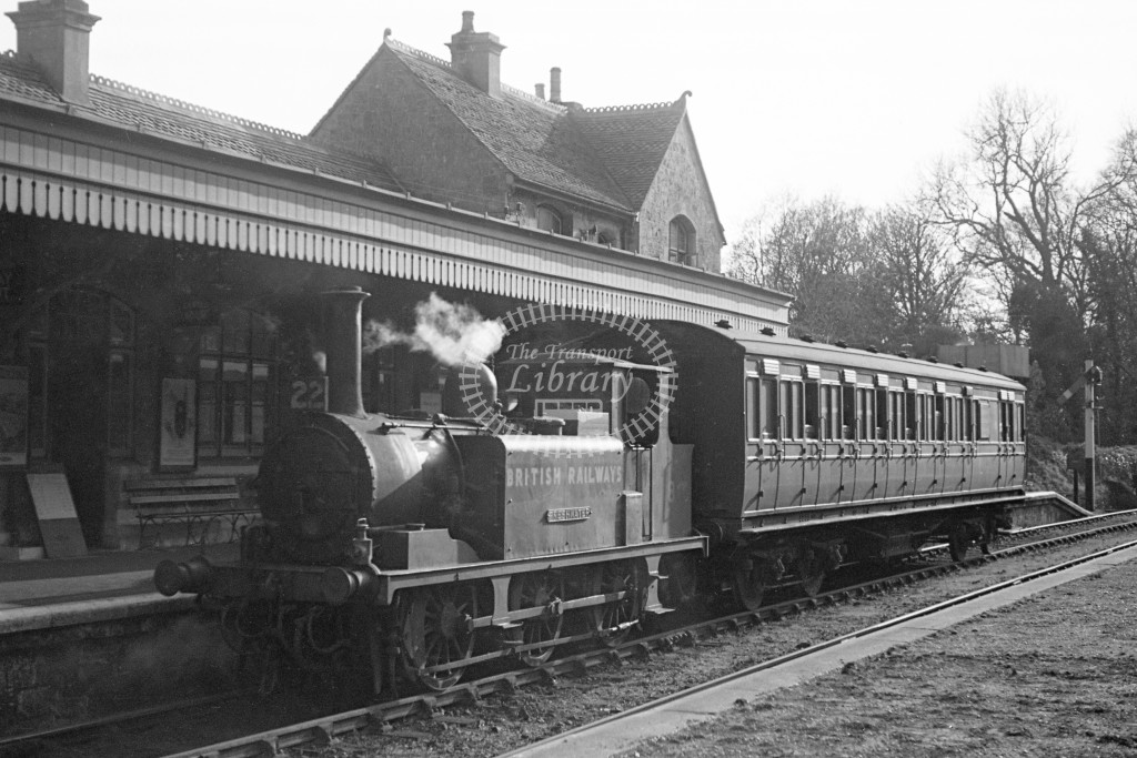 BR W8 Freshwater A1X in black, lettered 'British Railways' stabled, standing in platform with ex LBSC push pull coach S6987 at Ventnor West 16/4/49; L3/4 front view. -Lens of Sutton Association Isle of Wight (IOW) PM Alexander collection