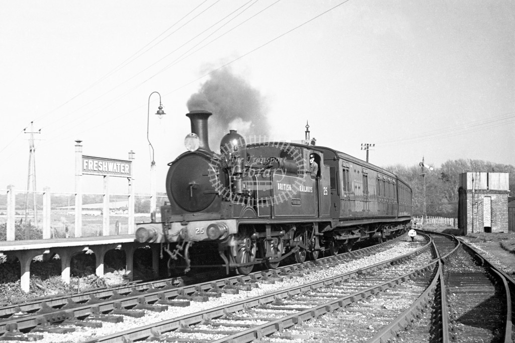 BR W25 Godshill class O2  arriving at Freshwater with passenger service from Newport 17/4/49; loco in malachite lettered 'British Railways'; L3/4 front view.-Lens of Sutton Association Isle of Wight (IOW) PM Alexander collection