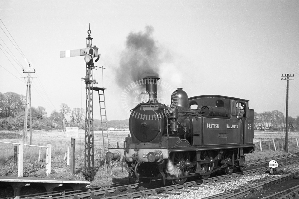 BR W25 Godshill class O2 at end of platform at Freshwater after running around train 17/4/49; loco in malachite lettered 'British Railways'; L3/4 front view.-Lens of Sutton Association Isle of Wight (IOW) PM Alexander collection