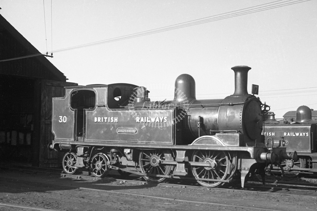 BR W30 Shorwell class O2  at Newport MPD 17/4/49;  loco in malachite lettered 'British Railways'; R 3/4 front view.-Lens of Sutton Association Isle of Wight (IOW) PM Alexander collection