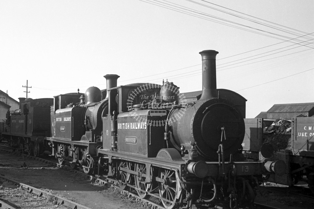 BR W13 Carisbrooke ex LBSC class A1X with W4 Wroxall class E1 at Newport MPD 17/4/49; both locos in malachite lettered 'British Railways'; R 3/4 front view.-Lens of Sutton Association Isle of Wight (IOW) PM Alexander collection