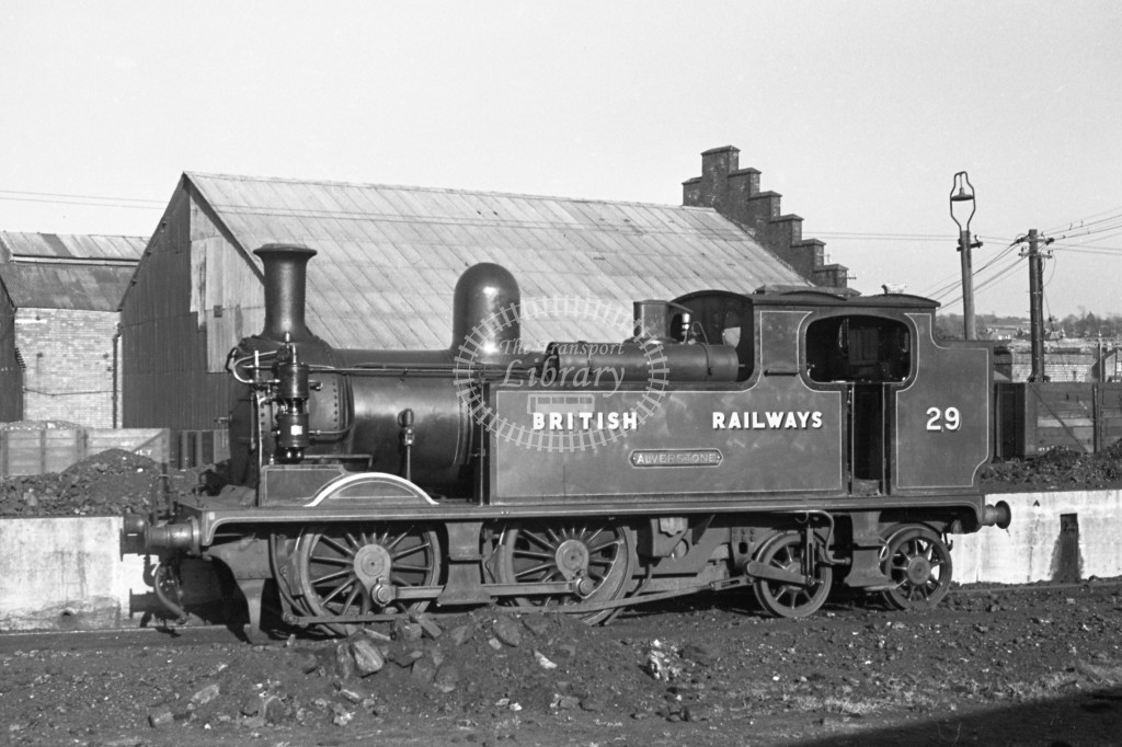 BR W29 Alverstone class O2  at Newport MPD 17/4/49;  loco in malachite lettered 'British Railways'; L 3/4 front view.-Lens of Sutton Association Isle of Wight (IOW) PM Alexander collection