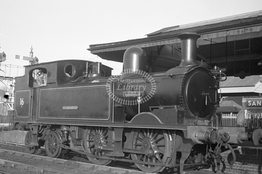 BR W16 Ventnor class O2  moving onto train at Sandown Station 17/4/49; loco in BR lined black but without crest ; R 3/4 front view.-Lens of Sutton Association Isle of Wight (IOW) PM Alexander collection