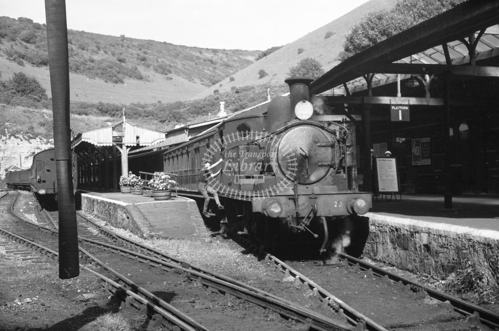 BR Ventnor Station. View of platforms from buffers with W20 Shanklin class O2 after arrival with passenger service circa 1960s; lined black with later crest, R3/4 front view.-Lens of Sutton Association Isle of Wight (IOW) PM Alexander collection