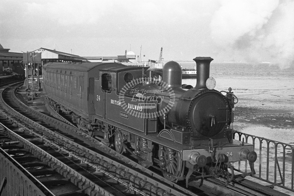 BR W24 Calbourne class O2 departing Ryde Pierhead on passenger service 12-2-49;  loco in malachite lettered 'British Railways'; R3/4 front view-Lens of Sutton Association Isle of Wight (IOW) PM Alexander collection