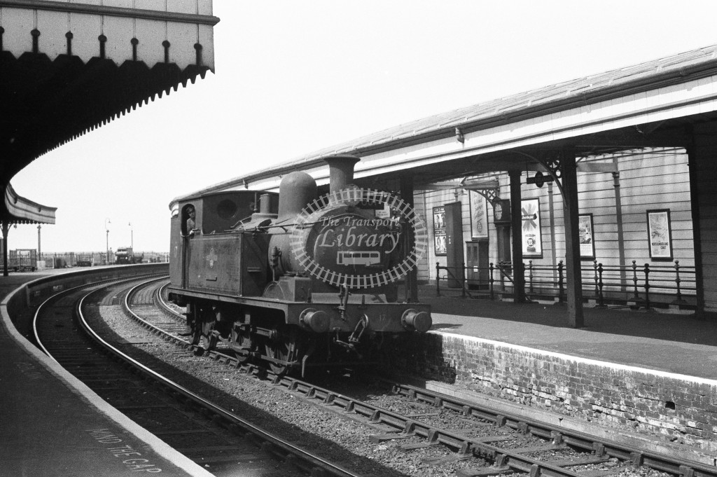 BR W17 Seaview class O2 standing light engine in Ryde Esplanade station on down line; c1964-Lens of Sutton Association Isle of Wight (IOW) WJ Probert collection