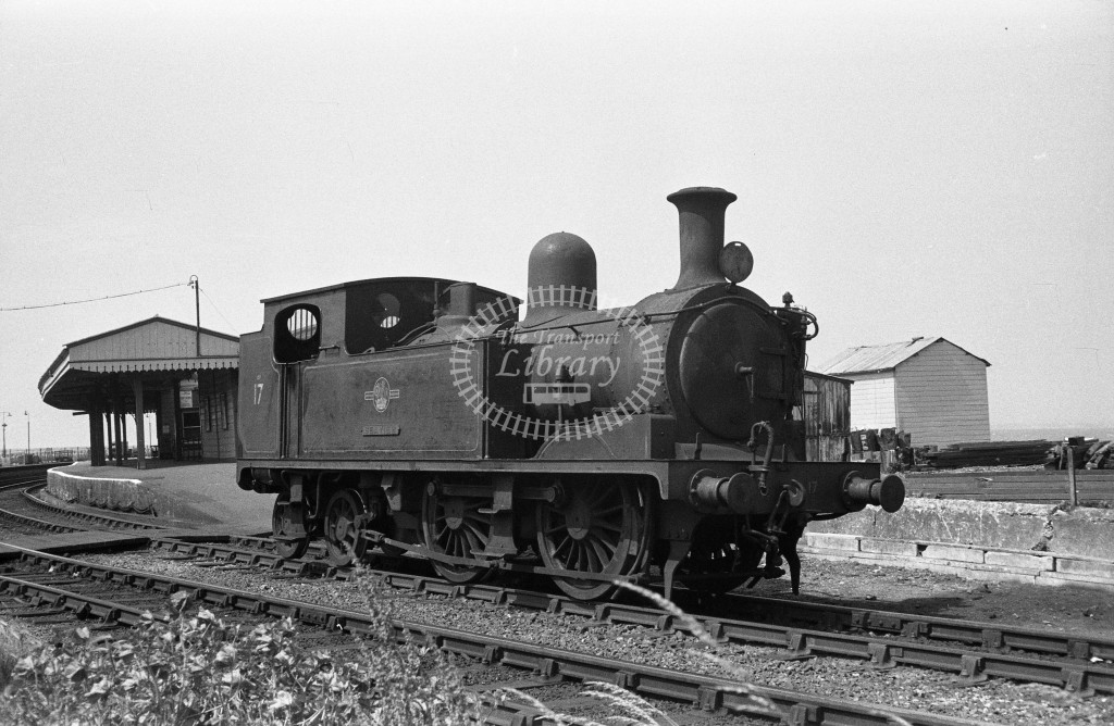BR W17 Seaview class O2 running light engine outside Ryde Esplanade station on down line; c1964-Lens of Sutton Association Isle of Wight (IOW) WJ Probert collection