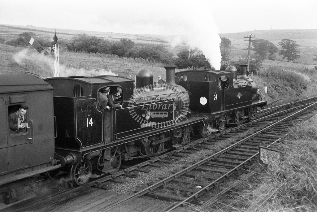 BR W14 Fishbourne & W24 Calbourne class O2s doubleheading  LCGB Vectis Farewell railtour; at Wroxall station 3/10/65-Lens of Sutton Association Isle of Wight (IOW) WJ Probert collection