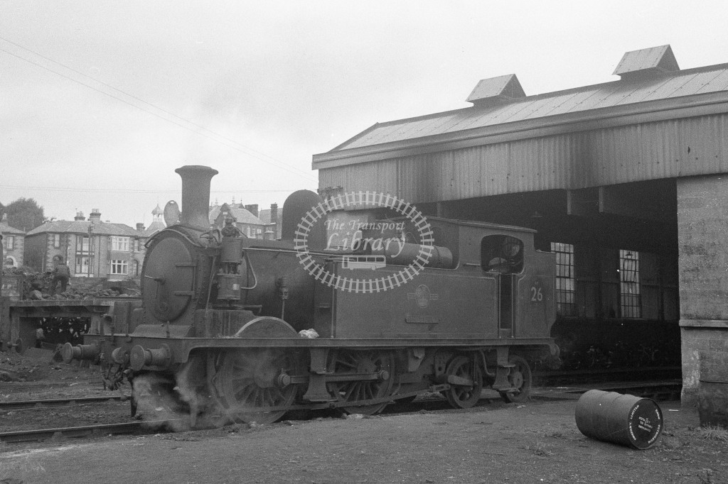 BR W26 Whitwell class O2 standing outside Ryde shed; June 1964-Lens of Sutton Association Isle of Wight (IOW) WJ Probert collection