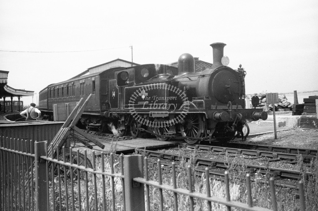 BR W14 Fishbourne class O2 on up passenger service standing in Ryde Esplanade; 12/6/64-Lens of Sutton Association Isle of Wight (IOW) WJ Probert collection