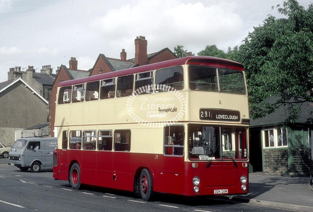Rossendale Leyland AN68 26 DDK26W at Loveclough in 1981 - 29738 - Roy Marshall