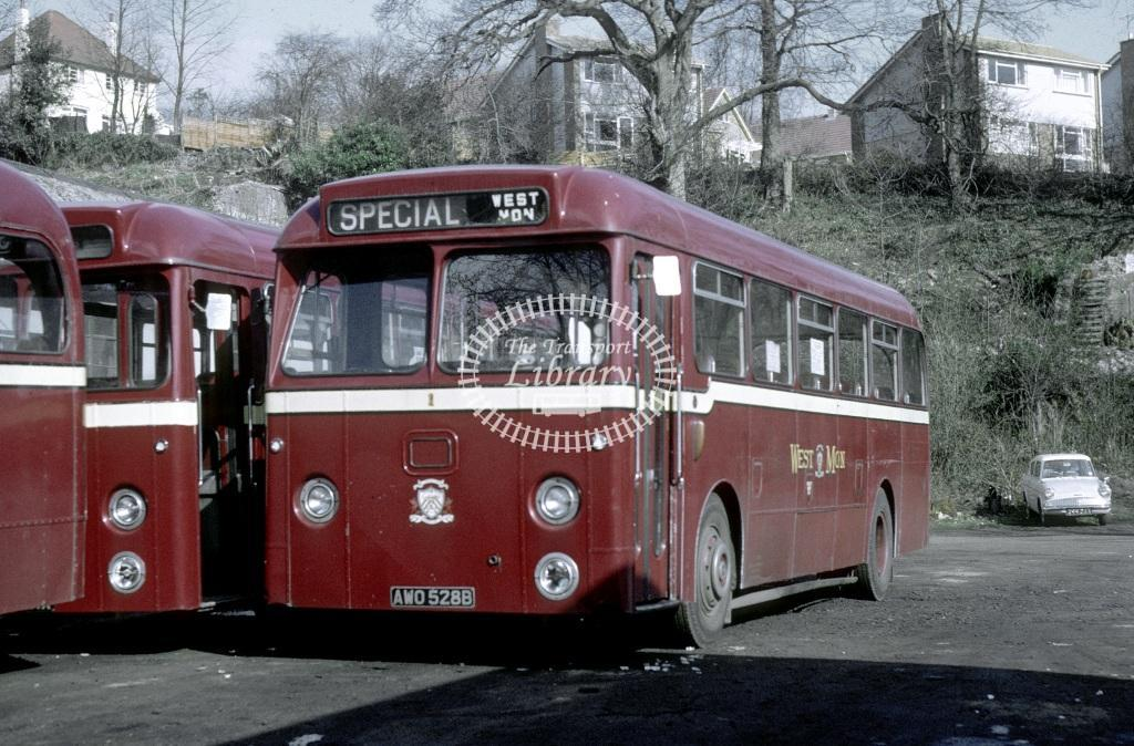 West Mon Leyland PSUC1/11 1 AWO528B at Blackwood in 1968 - 24929 - Roy Marshall
