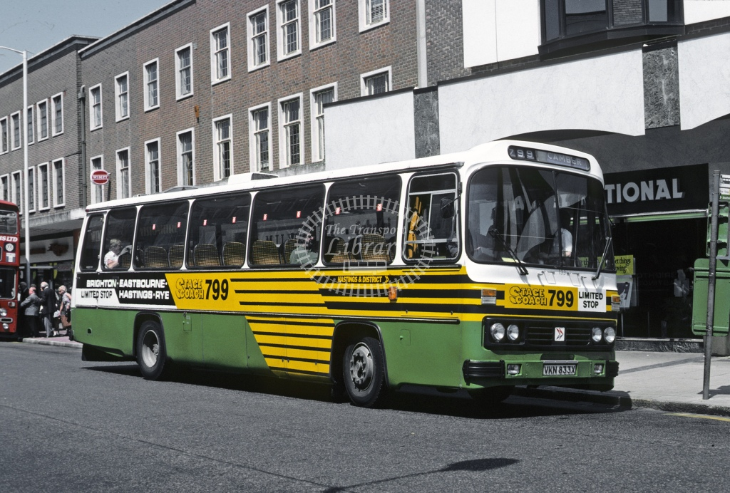 Hastings Leyland PSU3F 133 VKN833X  at Eastbourne  in 1984 - Jun - Roy Marshall