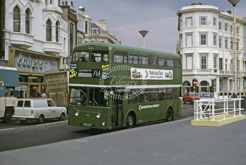 Maidstone and District Leyland PDR1 5498 498DKT at Hastings in 1974 - Sep 1974 - Roy Marshall