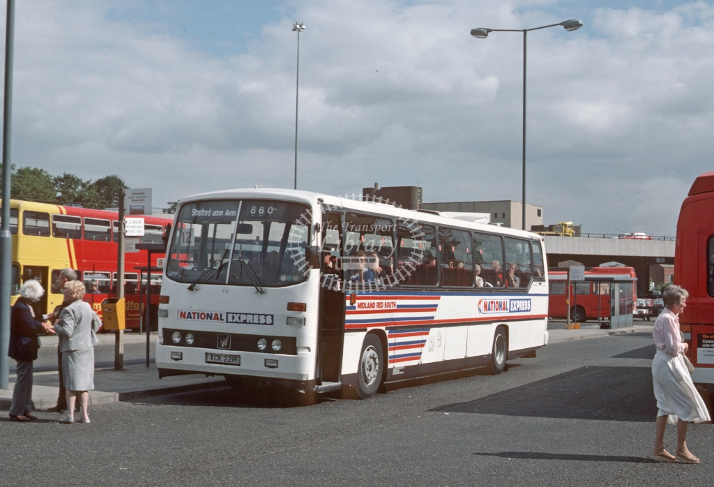 Midland Red South Leyland PSU3 90 XCK221R  at Coventry  in 1985 -  Sep  - Roy Marshall