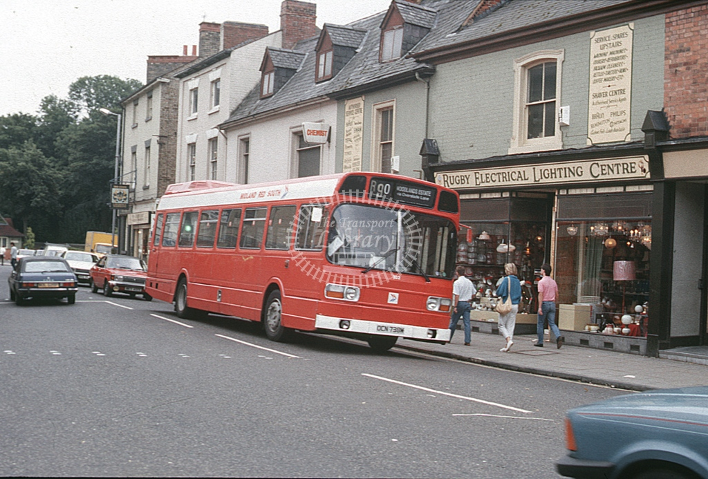 Midland Red South Leyland National 102 OCN759M  at Rugby  in 1986 -  Sep  - Roy Marshall