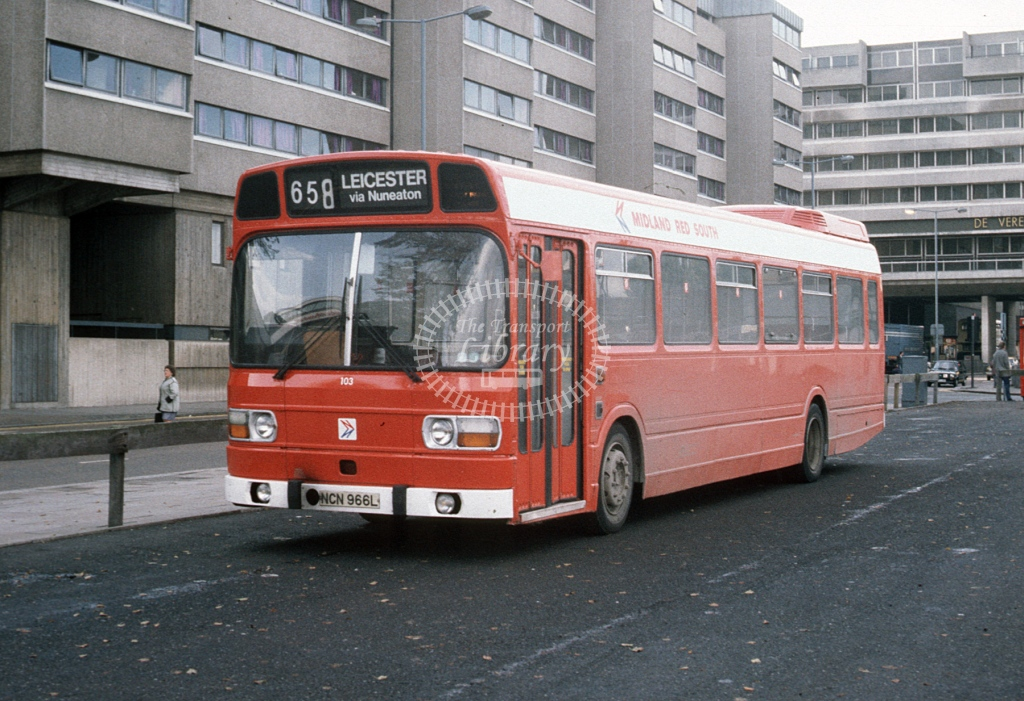Midland Red South Leyland National 103 NCN966L  at Coventry  in 1984 -  Oct  - Roy Marshall