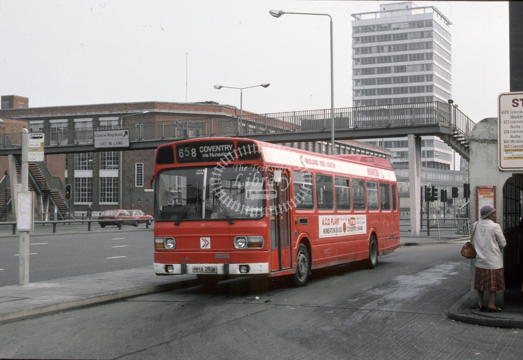 Midland Red South Leyland National 281 NHA281M  at Coventry  in 1984 -  Mar  - Roy Marshall