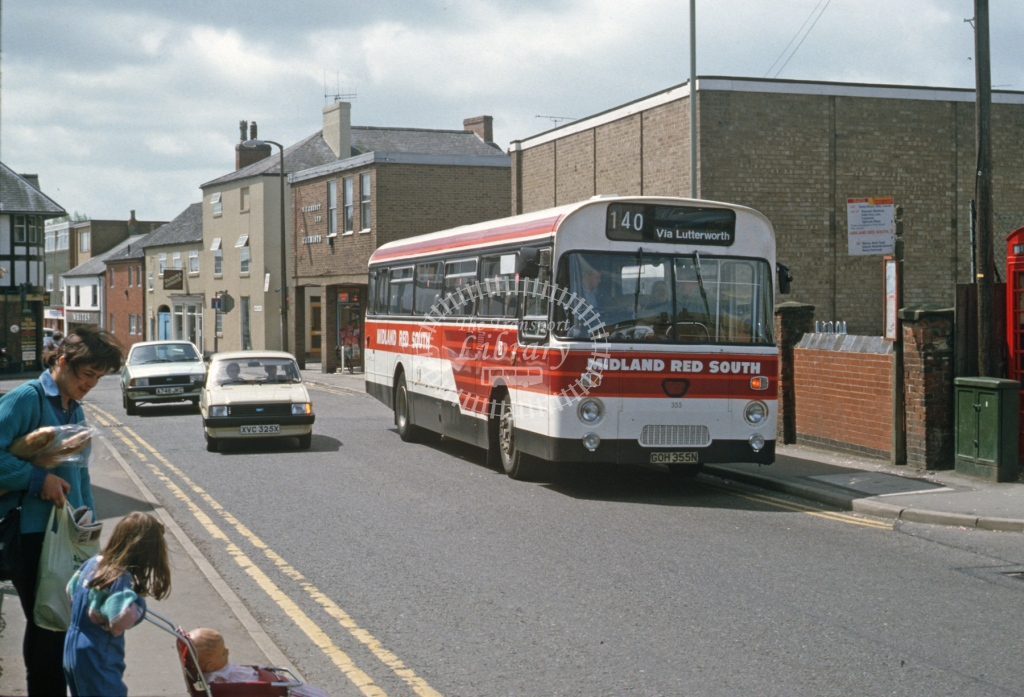 Midland Red South Leyland PSU3 355 GOH335N  at Lutterworth  in 1986 -  May  - Roy Marshall