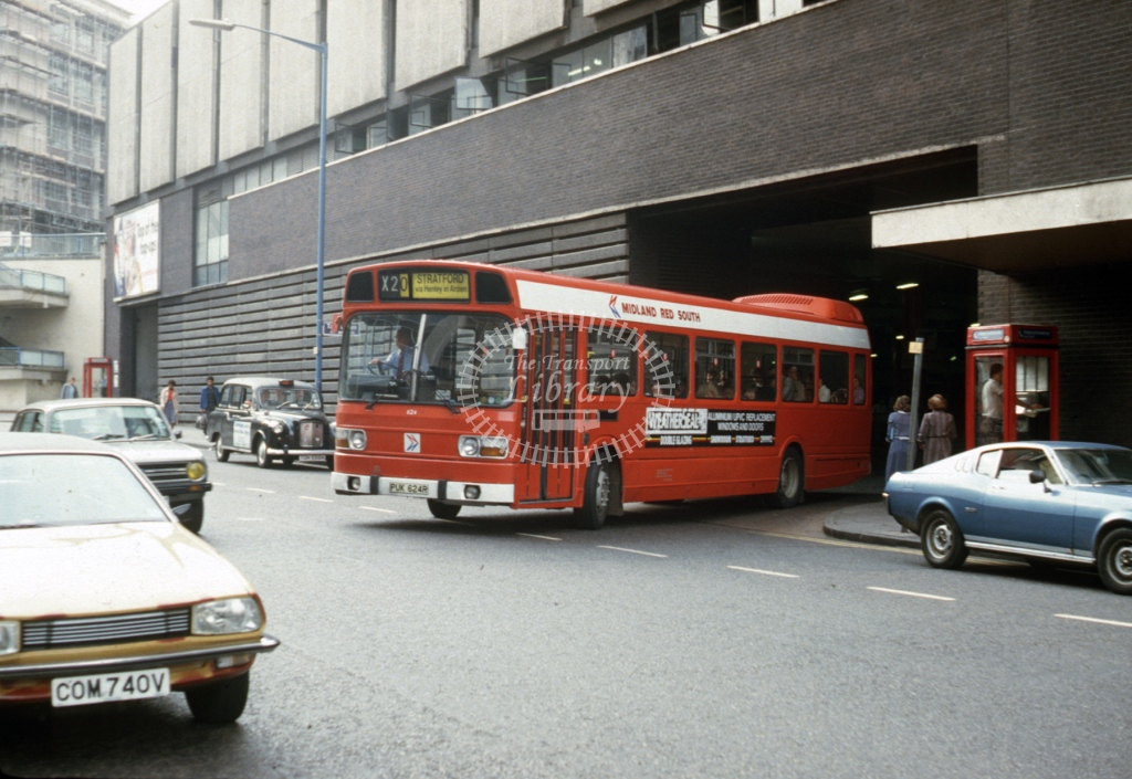 Midland Red South Leyland National 614 PUK624R  at Birmingham  in 1984 -  Sep  - Roy Marshall