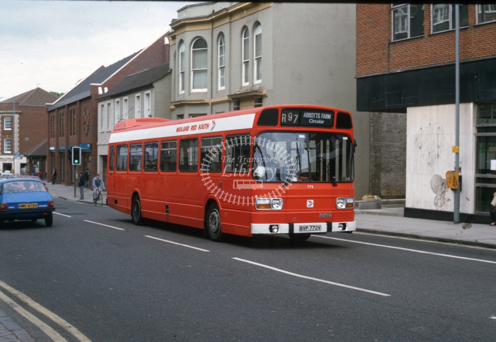 Midland Red South Leyland National 772 BVP772V  at Rugby  in 1986 -  Jun  - Roy Marshall
