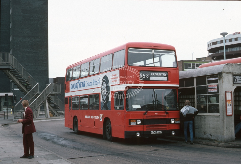 Midland Red South Leyland ON 908 A548HAC  at Leicester  in 1984 -  Jul  - Roy Marshall