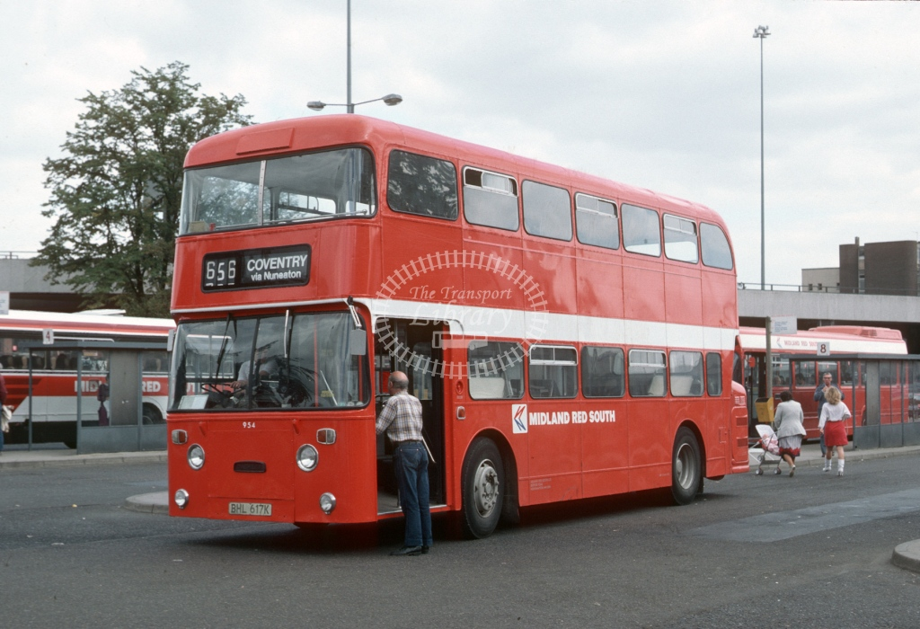 Midland Red South Daimler CRG6LX 954 BHL617K  at Coventry  in 1985 -  Sep  - Roy Marshall