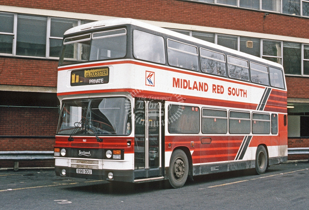 Midland Red South Leyland ON 961 B961ODU  at Gloucester  in 1985 -  Dec  - Roy Marshall