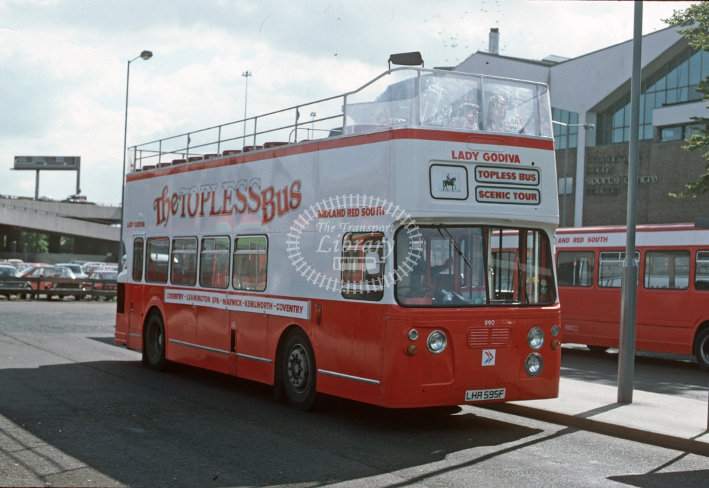 Midland Red South Daimler CRG6LX 990 LHA595F  at Coventry  in 1985 -  Sep  - Roy Marshall