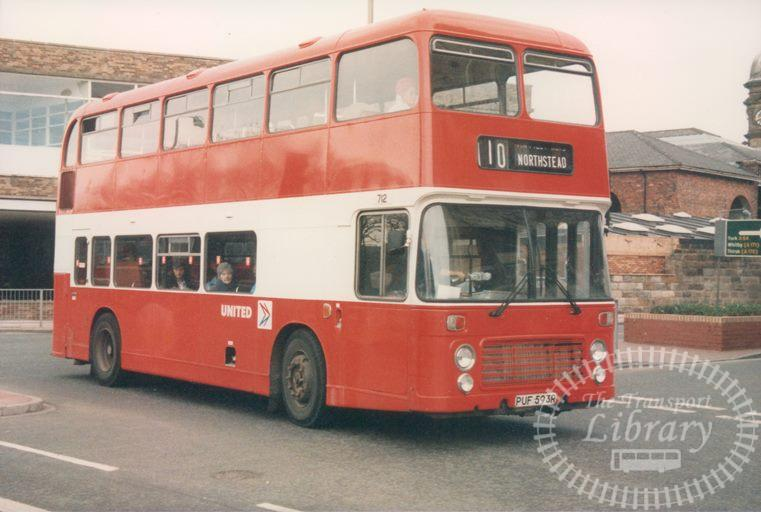 United Bristol VR 712 PUF593R at Scarborough in 1986 on route 110 - 19/04/1986 - Malcolm Hyland