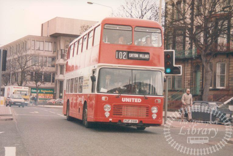 United Bristol VR 710 PUF591R at Scarborough in 1986 on route 102 - 19/04/1986 - Malcolm Hyland